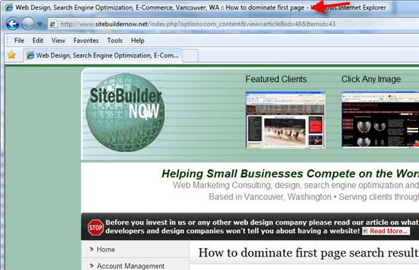 Page titles tell search engines and site visitors what your site is about